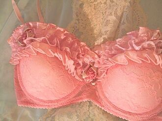 underwear bra pink lady ruffle lace pretty baby pink light light pink girly feminine