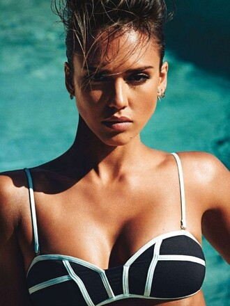 swimwear bikini top bikini jessica alba editorial beach summer summer beauty