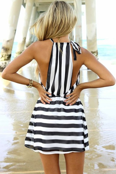 short striped short dress simple striped dress black and white dress cute dress