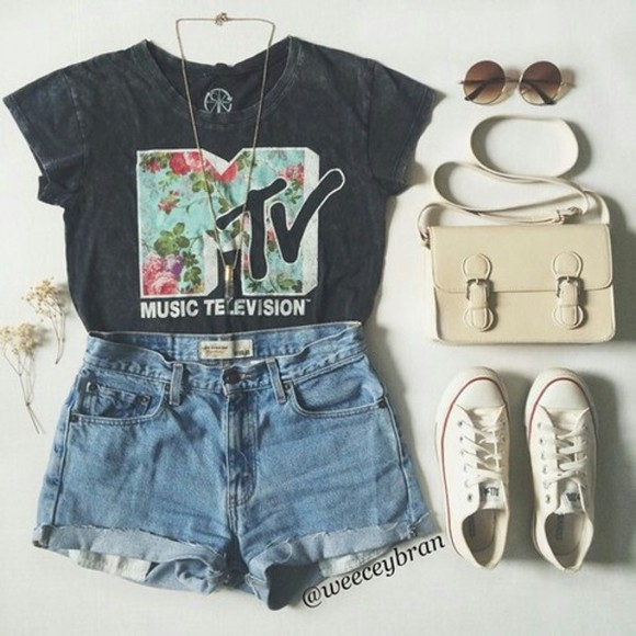 converse sneakers bag shorts sunglasses cute t-shirt mtv t shirt with a quote t shirt. vintage denim shorts mtv shirt music festival floral top mtb brand summery