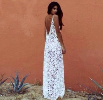dress maxi dress white dress lace lace dress white lace dress backless jeans
