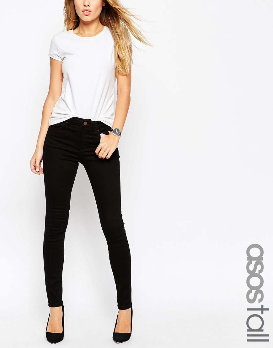 ASOS TALL Ridley High Waist Ultra Skinny Jeans In Clean Black at asos.com