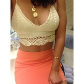 shoes,blouse,shirt,top,skirt,knitted crop top,crop tops,tank top,lace top,cream,cream top,low v,net,t-shirt,dress,jeans,fashion,cute dress,girl,style,outfit,halter top,crochet crop top,jewels,summer,cropped,crochet,knit