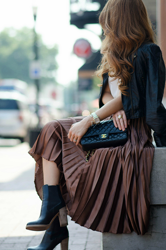 skirt tumblr pleated pleated skirt midi skirt top white top brown jacket black jacket leather jacket black leather jacket quilted bag boots black boots ankle boots