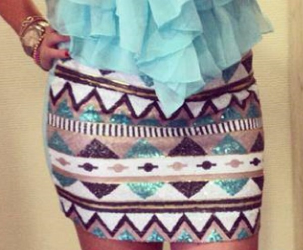 skirt aztec gold color glitter glamour blue color