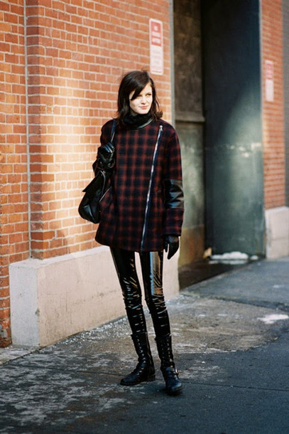 vanessa jackman blogger vinyl winter outfits winter boots coat leggings pants hat black vinyl pants