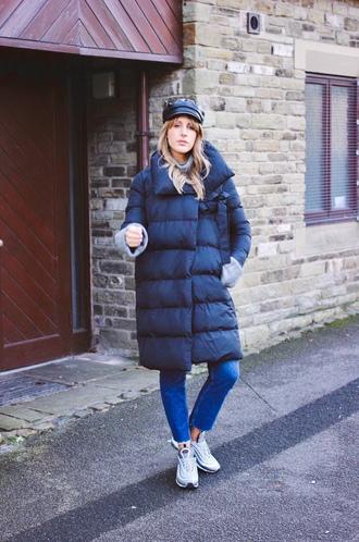 coat down jacket tumblr black coat winter outfits winter coat hat fisherman cap denim jeans blue jeans sneakers