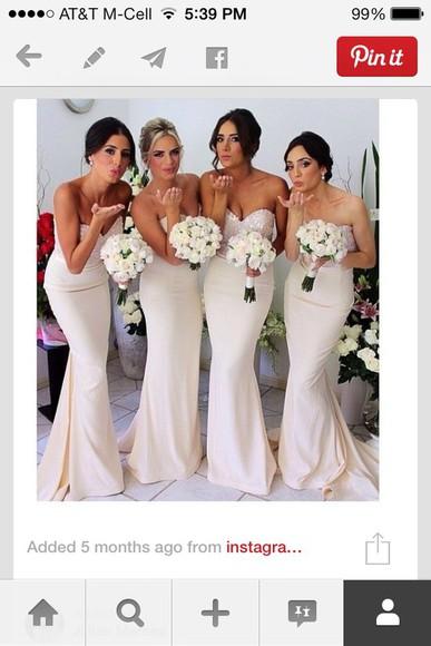 dress champagne dress bridesmaid wedding dress long prom dress sparkly dress mermaid prom dresses mermaid dress