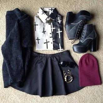 blouse cross shirt cute black and white emo goth t-shirt emo shoes