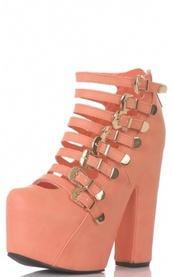 shoes,coral,peach,straps,buckles,heels,high heels,platform shoes