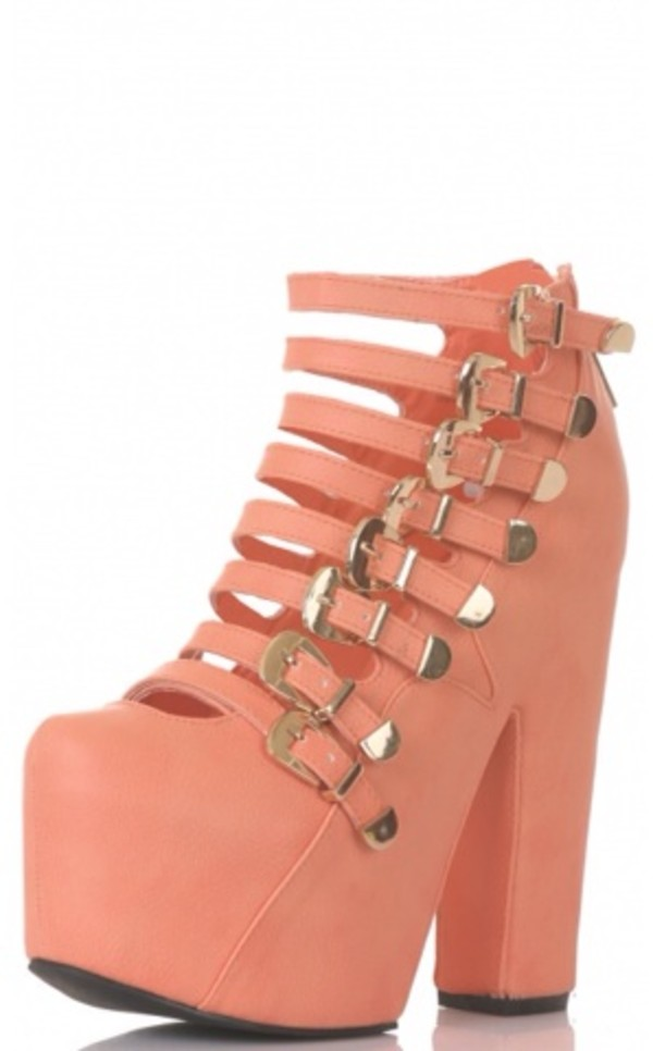 shoes coral peach straps buckles heels high heels platform shoes platform shoes