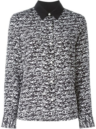 shirt printed shirt women black silk top