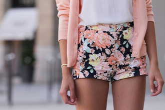 flowered shorts roses salmon cardigan print shorts floral spring flowers weheartit printed shorts summer pink