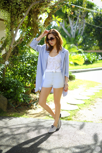 kryzuy blogger jacket shorts light blue shoes sunglasses jewels