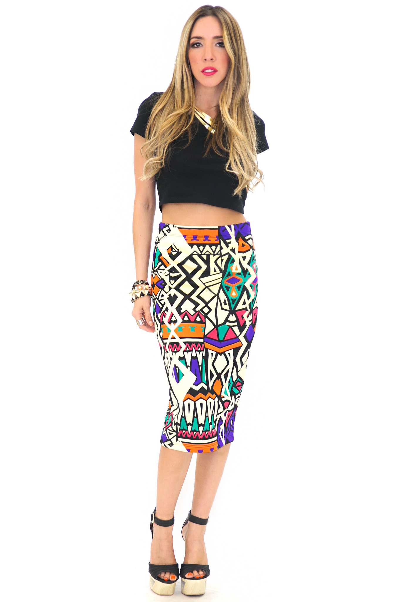 GEO PRINT HIGH-WAISTED PENCIL SKIRT | Haute & Rebellious