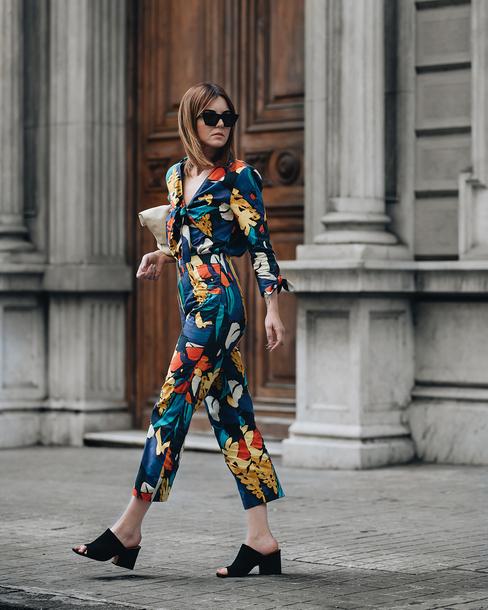 sunglasses black sunglasses jumpsuit floral floral jumpsuits sandals black sandals