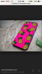 phone cover,pink,iphone 5 case,pineapple print