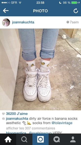 socks banana print banana socks banana shoes jeans air force ones air force 1 white white shoes