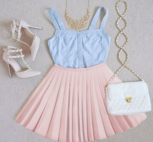 skirt rose jupe patineuse girly bag dress tank top blue baby blue cute pink necklace blouse outfit sandals high heel sandals white sandals blue top pastel blue button up pastel