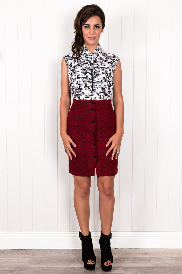 top geometric print retro vintage vintage top blouse tank top red skirt pencil skirt monochrome geometric button up citizen collective boucle skirt button up skirt