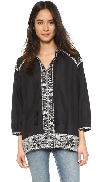 top embroidered tassel black