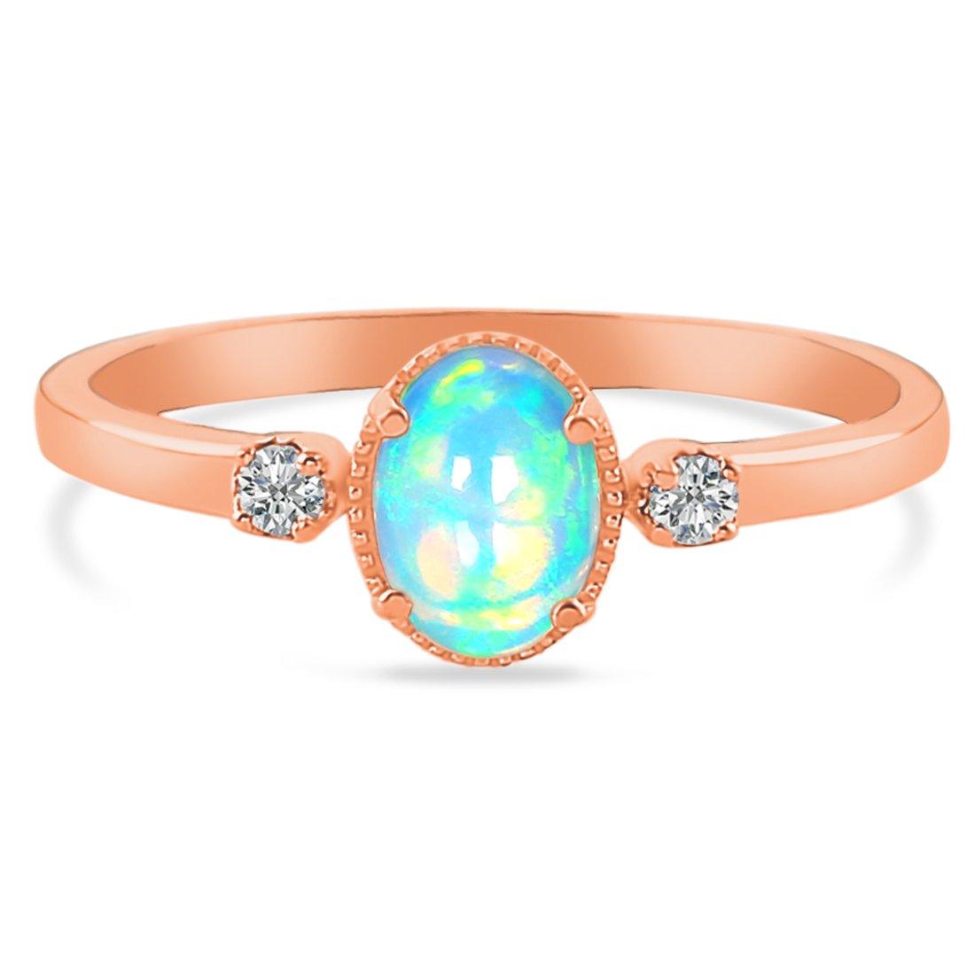 14k Rose Gold Vermeil Opal Ring-Spirit
