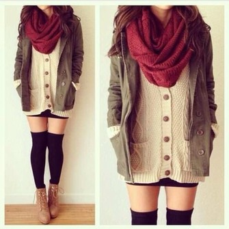 scarf jacket shoes infinity scarf blouse burgundy scarf dress button up, sweater coat sweater cream cardigan red fall outfits scarf red
