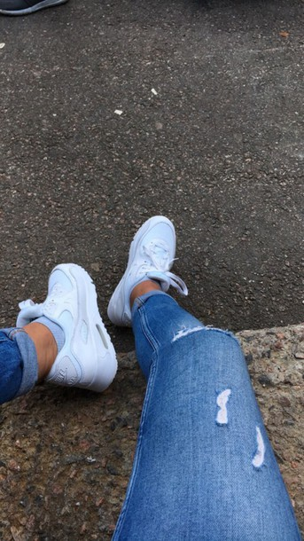shoes nike nike air jeans white sneakers