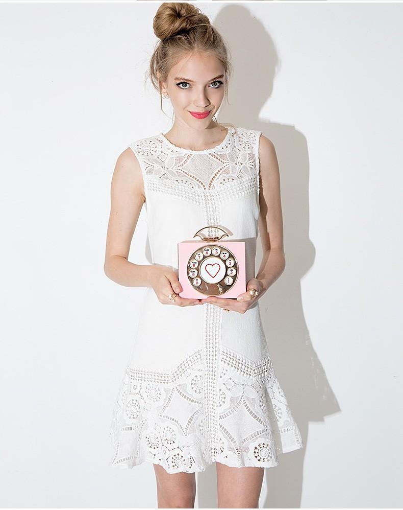 Sweet Crocheted Hollow Lace Dress Slim Sleeveless Vest Dress