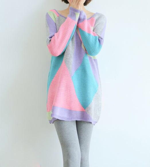 geometric sweater sweater dress long sleeves multi colour gray kfashion ulzzang fashion geometric sweater