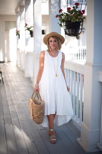 something delightful blogger dress shoes bag jewels hat white dress basket bag spring outfits summer outfits sandals