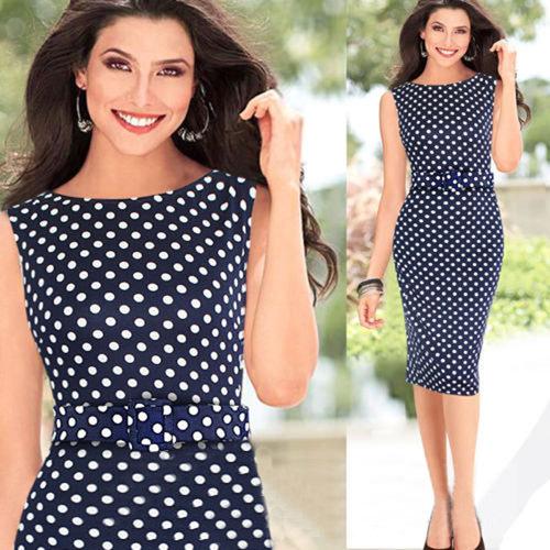 Dark Blue Garment Spring 2014 New Women Summer Casual Dress Sleeveless Elegant Party Vintage Polka Dot Print Dresses With Belt | Amazing Shoes UK
