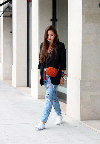 blaastyle blogger jeans jacket top shoes scarf bag