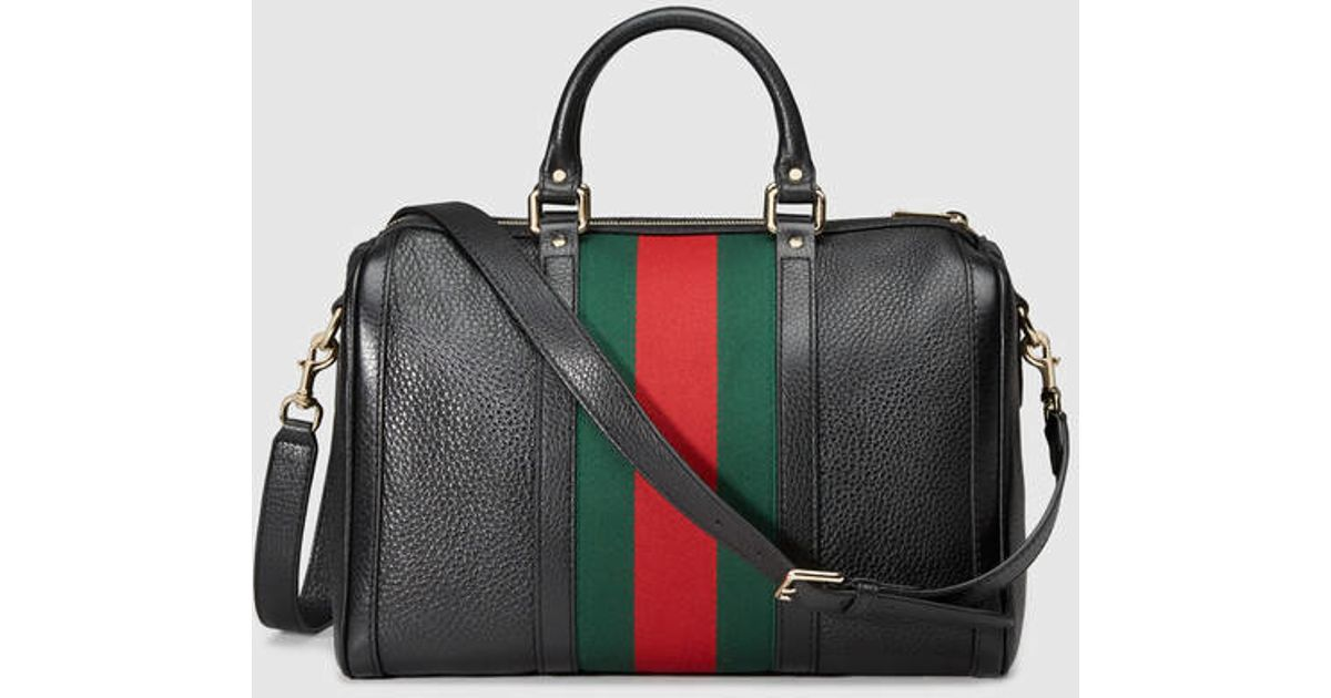 a7ce095c4bd3 Gucci - Black Vintage Web Leather Boston Bag - Lyst