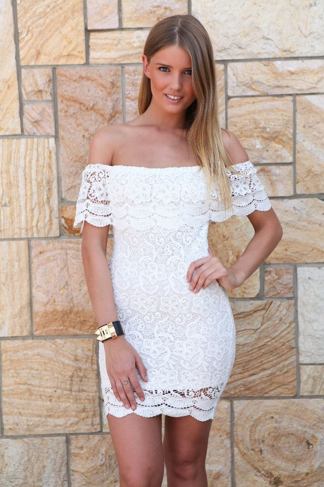 8 White cute lace crochet off shoulder beach summer bodycon mini ... f53a7becb814