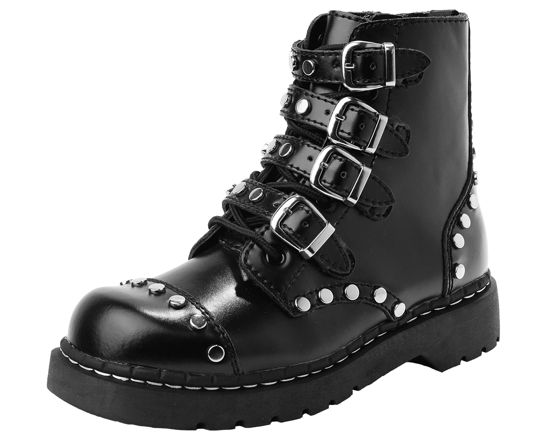 Leather Combat Boot with Straps and Studs | T.U.K. Shoes
