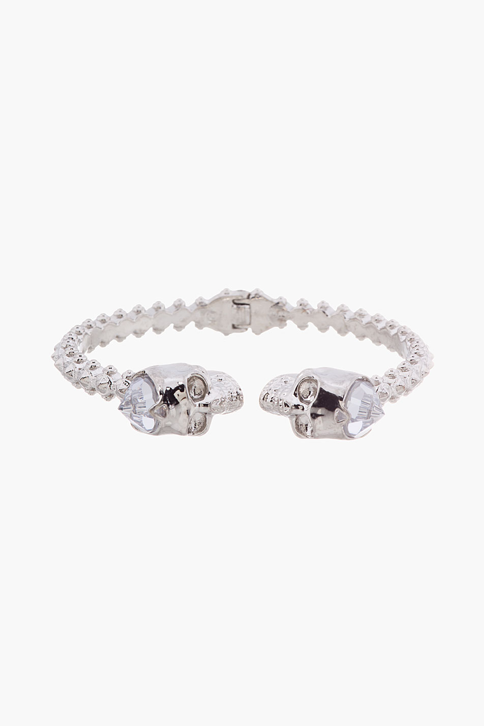 Alexander mcqueen silver stud and skull hinged bangle