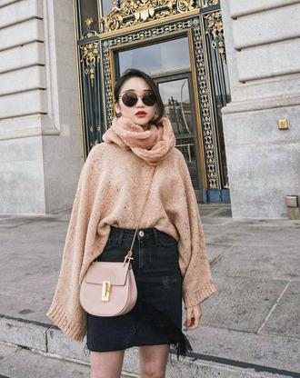 sweater tumblr knitwear knit knitted sweater beige sweater scarf skirt mini skirt round sunglasses sunglasses bag crossbody bag