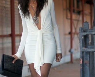 dress white dress plunge v neck deep v drape white love