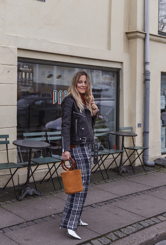 pants leather jacket tumblr plaid plaid pants bag handbag simon miller bag jacket black jacket