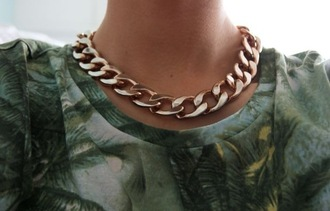 shirt tropical necklace palm tree rose gold