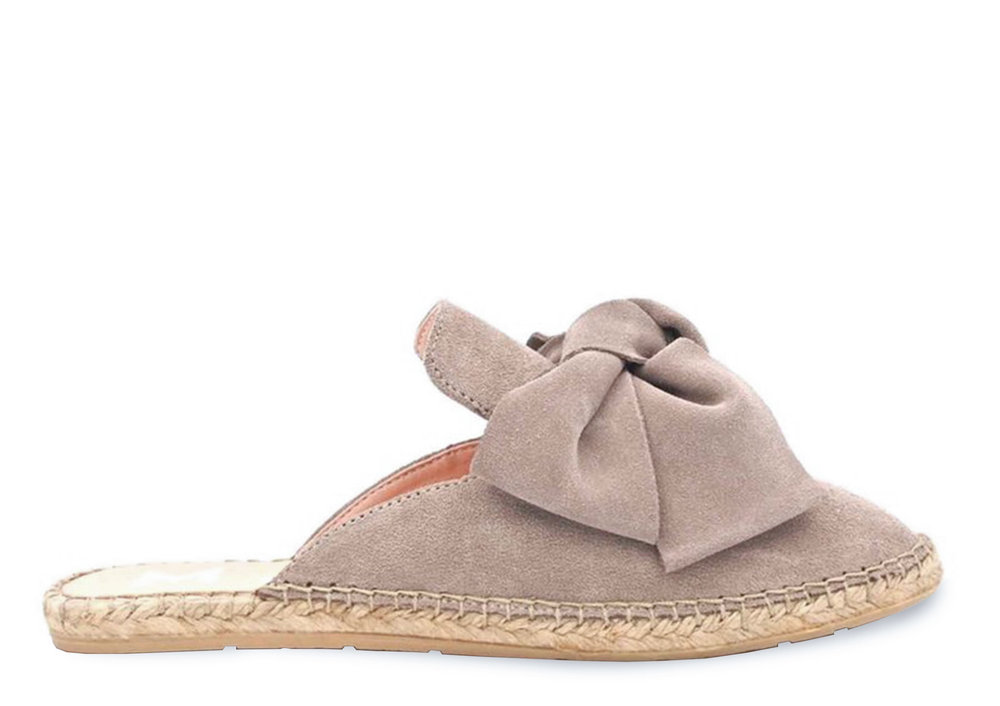 mule with bow - hamptons - vintage taupe
