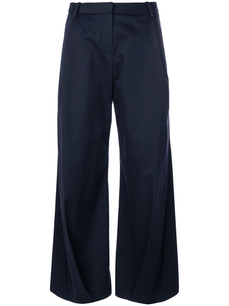 culottes women classic cotton blue pants