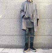 coat,spring coat,streetstyle,streetwear,street goth,menswear,grey,grey coat,urabn,spring outfits,long coat