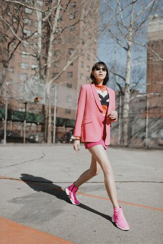 natalie off duty blogger shoes jacket skirt sweater sunglasses spring outfits blazer pink jacket sneakers pink sneakers pink skirt