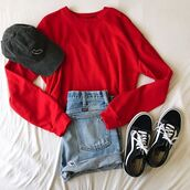 sweater,red,fashion,crop,red sweater,grunge,hipster,bellexo,vans,cap,outfit,shorts