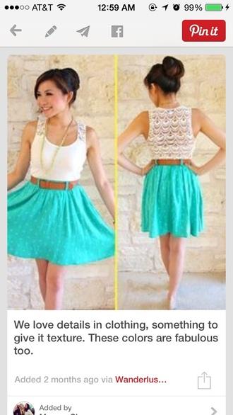polka dots dress lace dress blue skirt tank top beautiful dress
