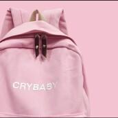 bag,backpack,melanie martinez,pink,pastel,crybaby,pink backpack