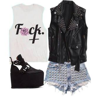shirt black spikes rivet shorts jacket tank top shoes platform boots platform shoes alternative pastel goth pastel grunge soft grunge grunge goth nu goth punk emo dark
