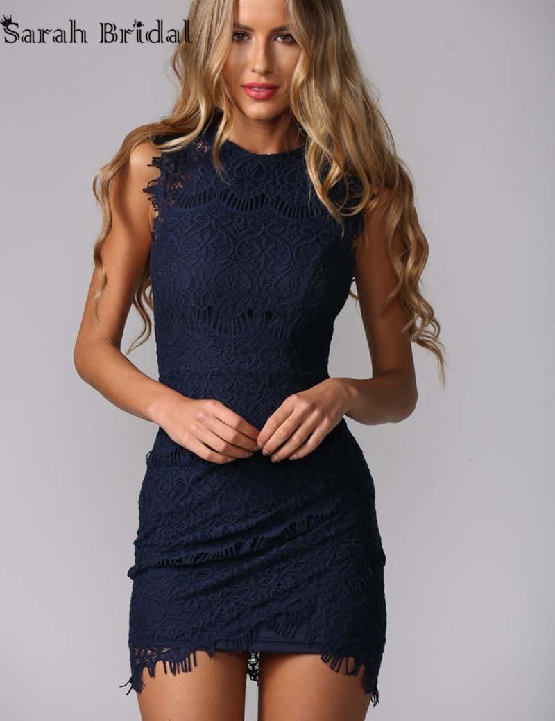 ec07d8d66ce97 Navy Blue Lace Short Cocktail Dresses 2016 Vestidos De Coctel Sheath Prom  Dress Party Gowns Custom ...
